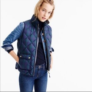 J. Crew Plaid Excursion Quilted Down Puffer Vest S